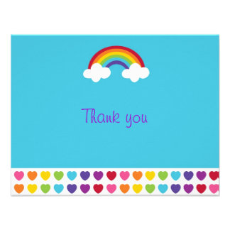 Rainbow Heart Flat Thank You Note Cards