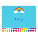 Rainbow Heart Flat Thank You Note Cards Invite