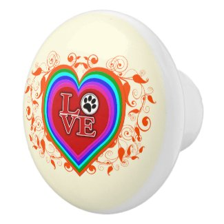 Rainbow Heart Flourish, Love Dogs Ceramic Knob