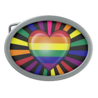 Rainbow Heart Gay Pride Flag with Star Burst Belt Buckles