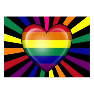 Rainbow Heart Gay Pride Flag with Star Burst Business Cards