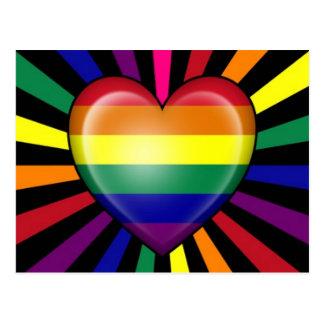 Rainbow Heart Gay Pride Flag with Star Burst Postcard