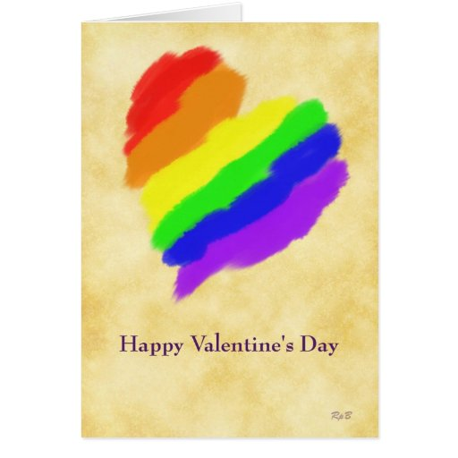 Rainbow Heart: Gay Valentines Greeting Card