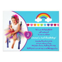 Rainbow Heart Girls Photo Birthday Invitations