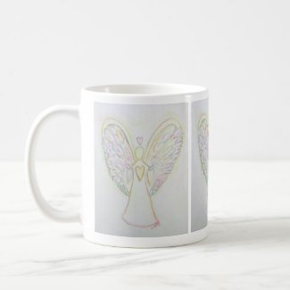 Rainbow Heart Guardian Angel Coffee Cup or Mug
