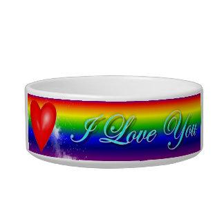 Rainbow Heart I Love You Cat Bowl