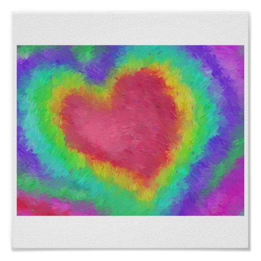 Rainbow Heart Impressionist Poster