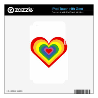 Rainbow Heart iPod Touch 4G Decals