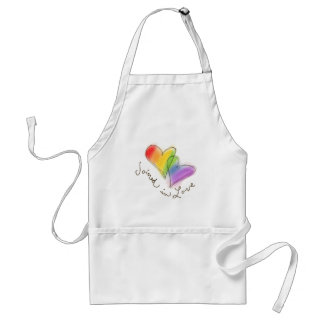 Rainbow Heart Joined in Love Adult Apron