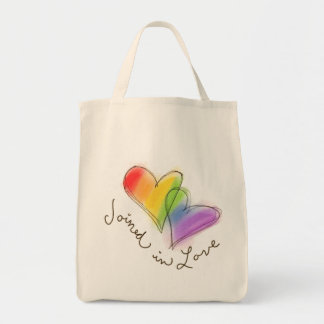 Rainbow Heart Joined in Love Tote Bag