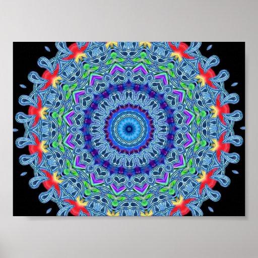 Rainbow Heart Kaleidoscope Poster