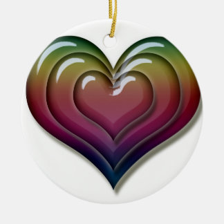 Rainbow Heart Love Cool Cute Ceramic Ornament