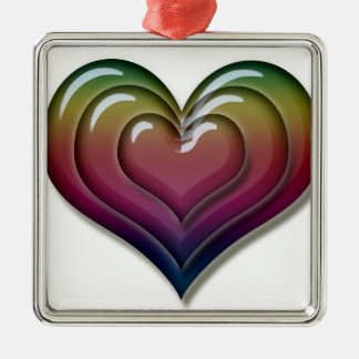 Rainbow Heart Love Cool Cute Metal Ornament