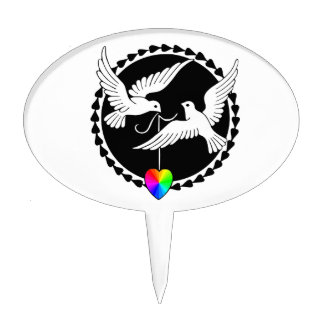 Rainbow Heart Love Doves Gay Wedding Cake Topper