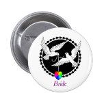 Rainbow Heart Love Doves Lesbian Bride's Badge 2 Inch Round Button