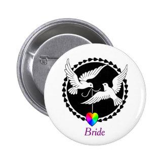 Rainbow Heart Love Doves Lesbian Bride's Badge Pinback Button