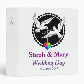 Rainbow Heart Love Doves Lesbian Wedding Album Binder
