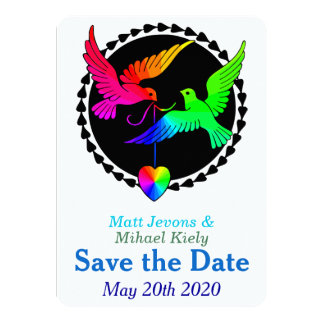Rainbow Heart Love Doves Save the Date Card
