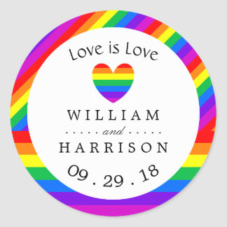 Rainbow Heart Love is Love Wedding Classic Round Sticker