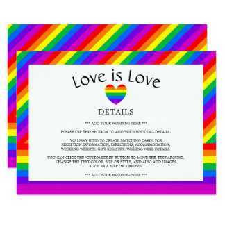 Rainbow Heart Love is Love Wedding Detail Card