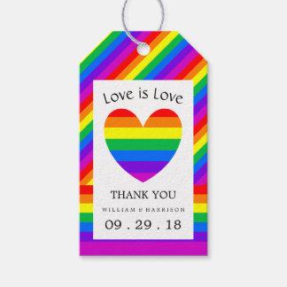 Rainbow Heart Love is Love Wedding Gift Tags
