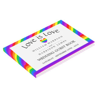 Rainbow Heart Love is Love Wedding Guest Book