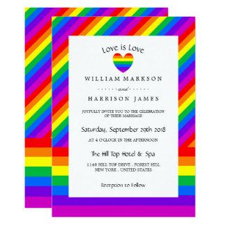 Rainbow Heart Love is Love Wedding Invitation