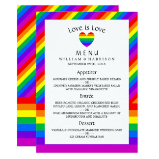 Rainbow Heart Love is Love Wedding Menu Card