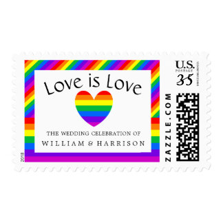 Rainbow Heart Love is Love Wedding Postage