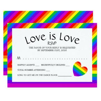 Rainbow Heart Love is Love Wedding RSVP Card