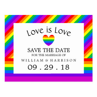 Rainbow Heart Love is Love Wedding Save The Date Postcard