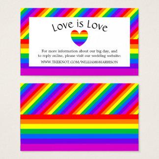 Rainbow Heart Love is Love Wedding Website Business Card