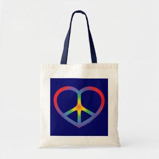 Rainbow Heart, Love, Peace Sign Tote Bag