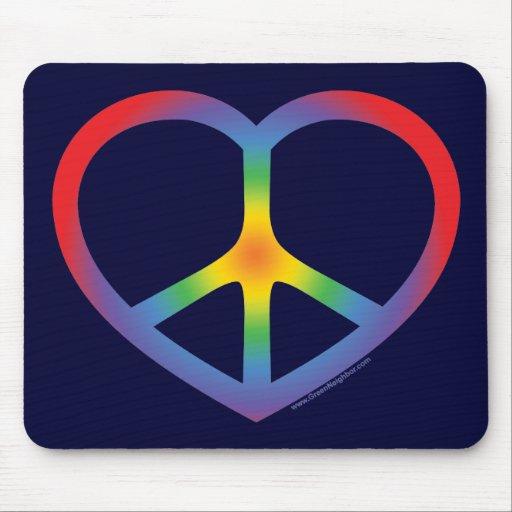 Rainbow Heart, Love, Peace Sign Mouse Pad