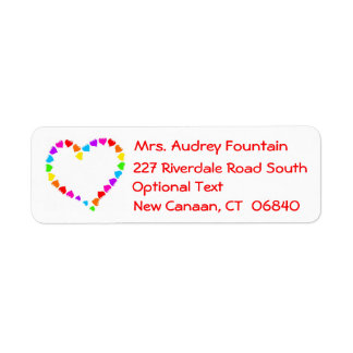Rainbow Heart Love Red Return Address Labels
