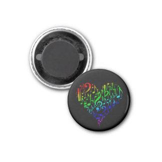 Rainbow Heart Magnet Black