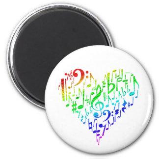 Rainbow Heart Magnet White