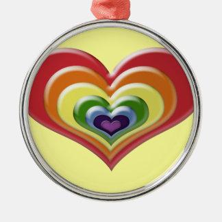 Rainbow Heart Metal Ornament