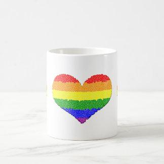 Rainbow Heart Mosaic Classic White Mug