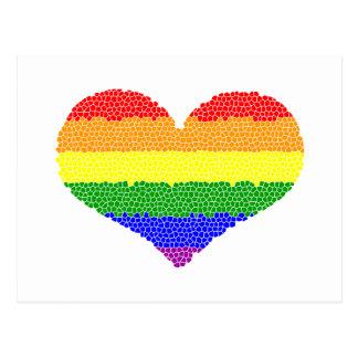 Rainbow Heart Mosaic Postcard