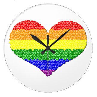Rainbow Heart Mosaic Round (Large) Wall Clock