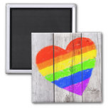 rainbow heart on a grungy wood panel 2 inch square magnet