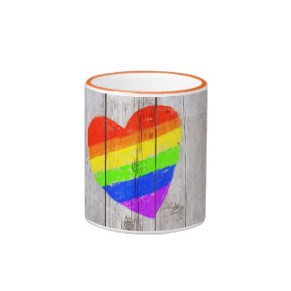 Rainbow heart on a grungy wood panel ringer mug