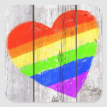 Rainbow heart on a grungy wood panel square sticker