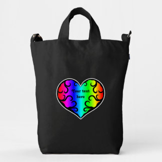 Rainbow heart on black personalized duck bag