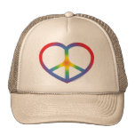 Rainbow Heart Peace Sign Trucker Hat