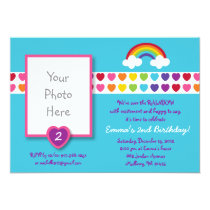 Rainbow Heart Photo Birthday Invitations