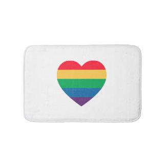 Rainbow Heart Pride Bath Mat