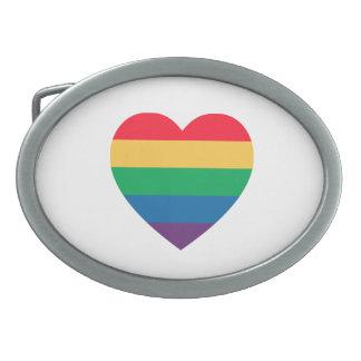 Rainbow Heart Pride Belt Buckle