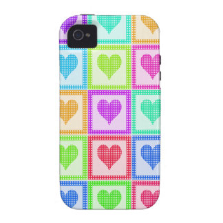 Rainbow Heart Quilt Pattern Case-Mate iPhone 4 Cases
